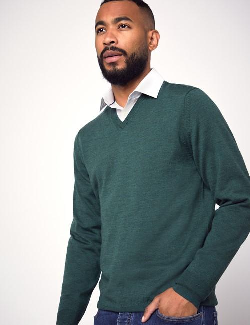 Men's Forest Green V-Neck Merino Wool Sweater - Slim Fit