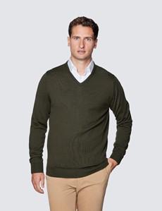 Men's Dark Olive V-Neck Merino Wool Jumper - Slim Fit