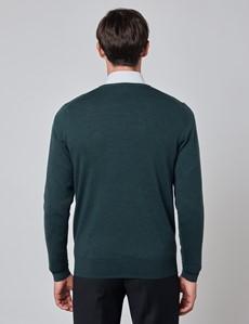 Merino Pullover – Slim Fit – V-Ausschnitt – Dunkelgrün