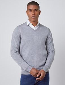 Men's Grey V-Neck Merino Wool Sweater- Slim Fit