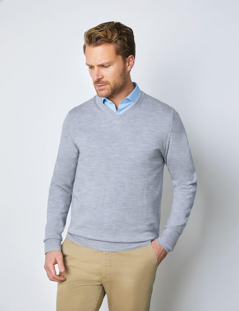 Men's Grey V-Neck Merino Wool Jumper - Slim Fit
