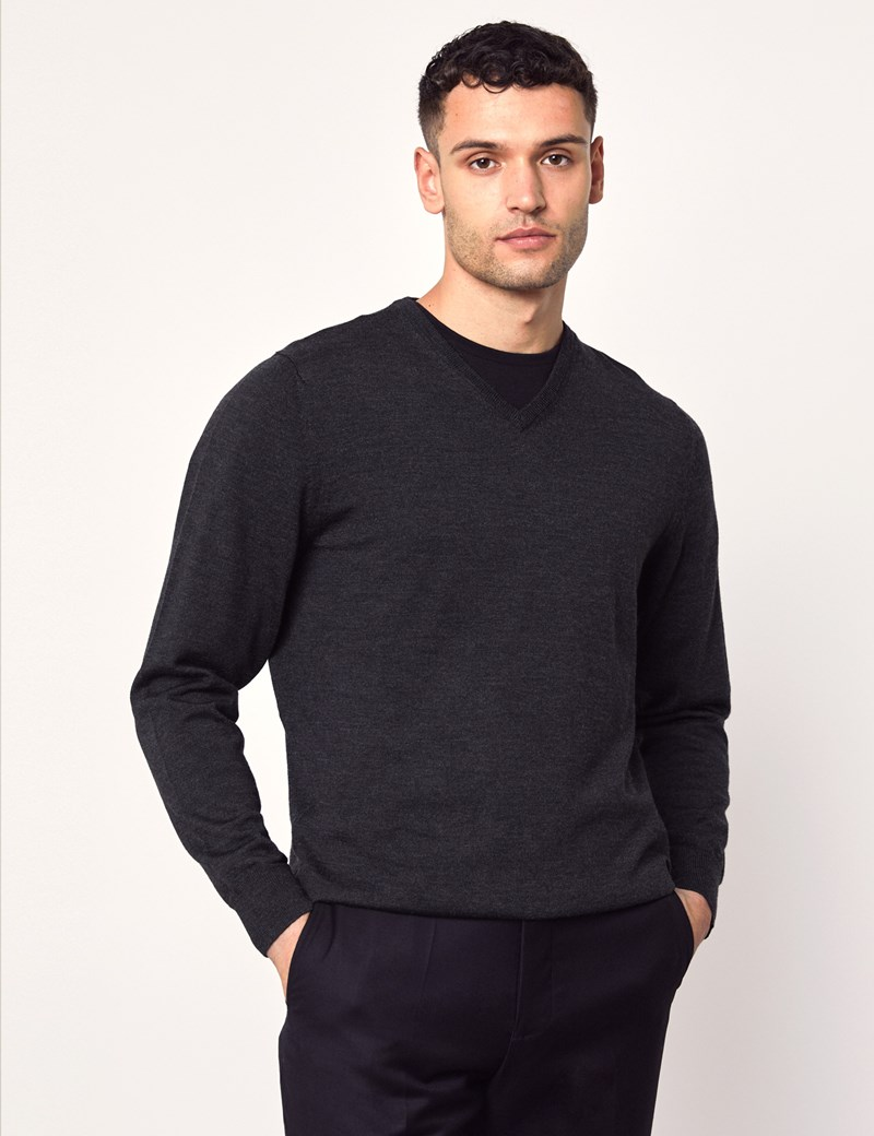 Men's Charcoal V-Neck Merino Wool Sweater - Slim Fit
