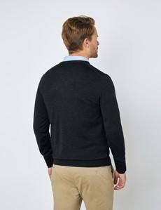 Men's Charcoal V-Neck Merino Wool Jumper - Slim Fit