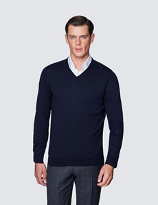 Merino Pullover – Slim Fit – V-Ausschnitt – Nachtblau