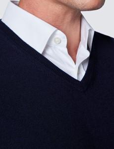 Men's Navy V-Neck Merino Wool Jumper - Slim Fit