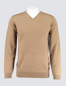 Men's Camel V-Neck Merino Wool Sweater  - Slim Fit