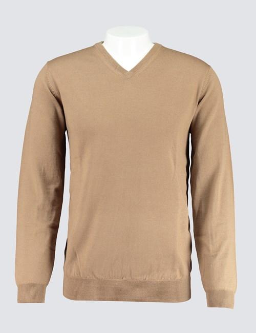 Men's Camel V-Neck Merino Wool Jumper - Slim Fit