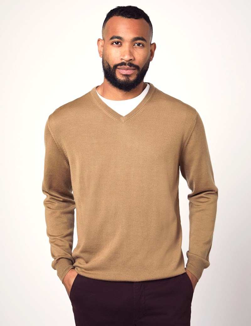 Men's Camel V Neck Merino Wool Jumper Slim Fit