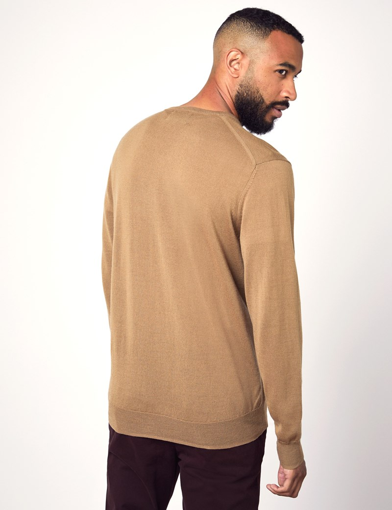 Men's Camel V-Neck Merino Wool Jumper - Slim Fit