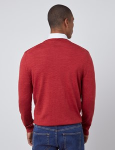 Men's Rust Orange V-Neck Merino Wool Sweater - Slim Fit