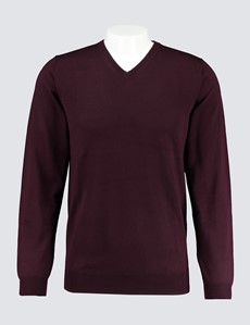 Men's Blackberry V-Neck Merino Wool Jumper - Slim Fit