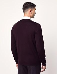 Men's Blackberry V-Neck Merino Wool Jumper - Slim Fit