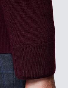Merino Pullover – Slim Fit – V-Ausschnitt – Weinrot