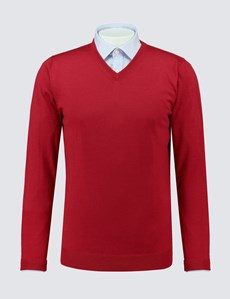Men's Red V-Neck Merino Wool Jumper - Slim Fit