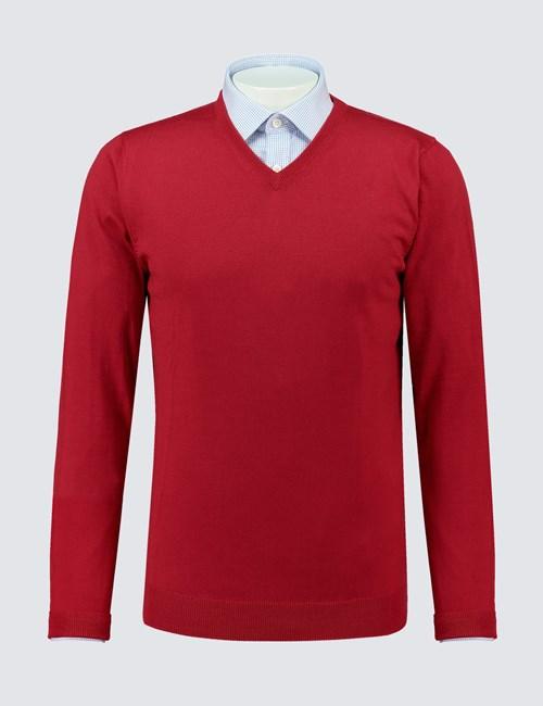 Men's Red V-Neck Merino Wool Jumper - Slim Fit