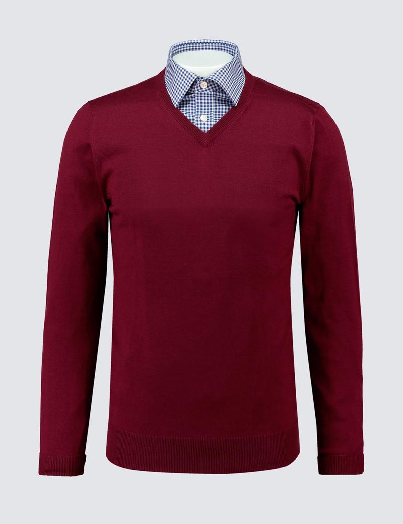 Men's Burgundy V-Neck Merino Wool Jumper - Slim Fit