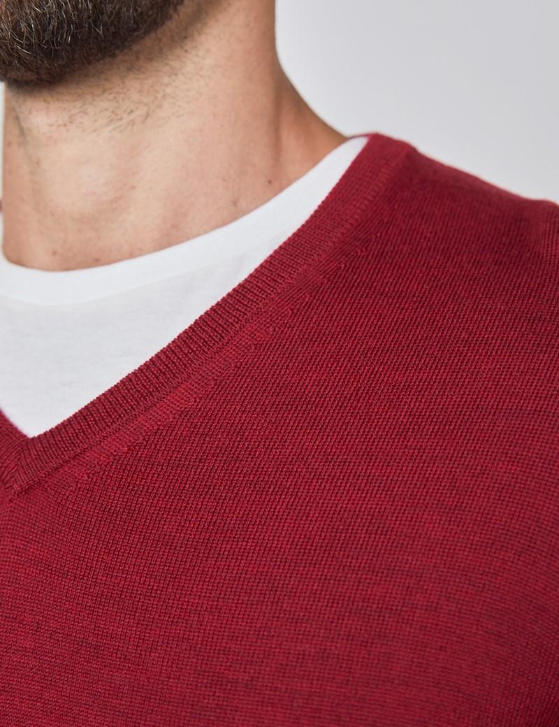 Men's Cranberry V-Neck Merino Wool Jumper - Slim Fit