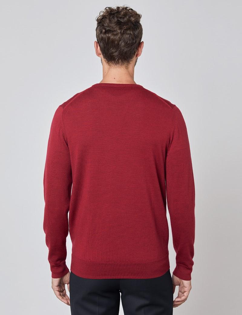 Merino Pullover – Slim Fit – V-Ausschnitt – Burgunderrot