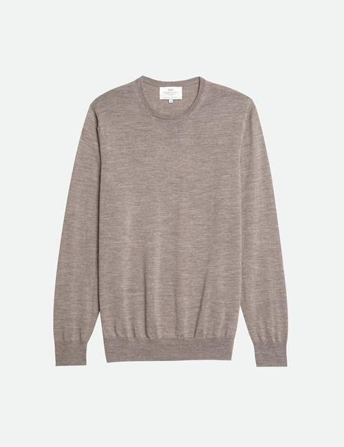 Men's Taupe Crew Neck Merino Wool Sweater - Slim Fit