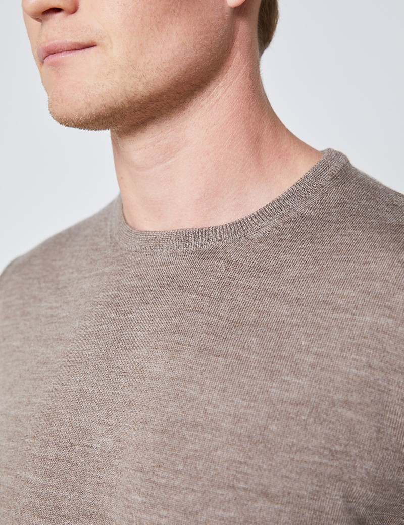 Men's Taupe Crew Neck Merino Wool Jumper - Slim Fit