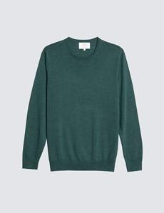 Merino Pullover – Slim Fit – Rundhals – Waldgrün