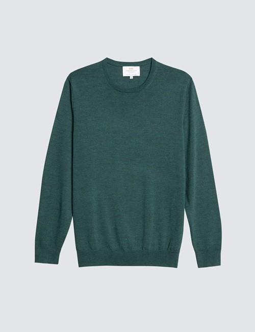Men's Forest Green Crew Neck Merino Wool Sweater - Slim Fit