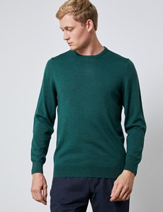 Men's Forest Green Crew Neck Merino Wool Jumper - Slim Fit