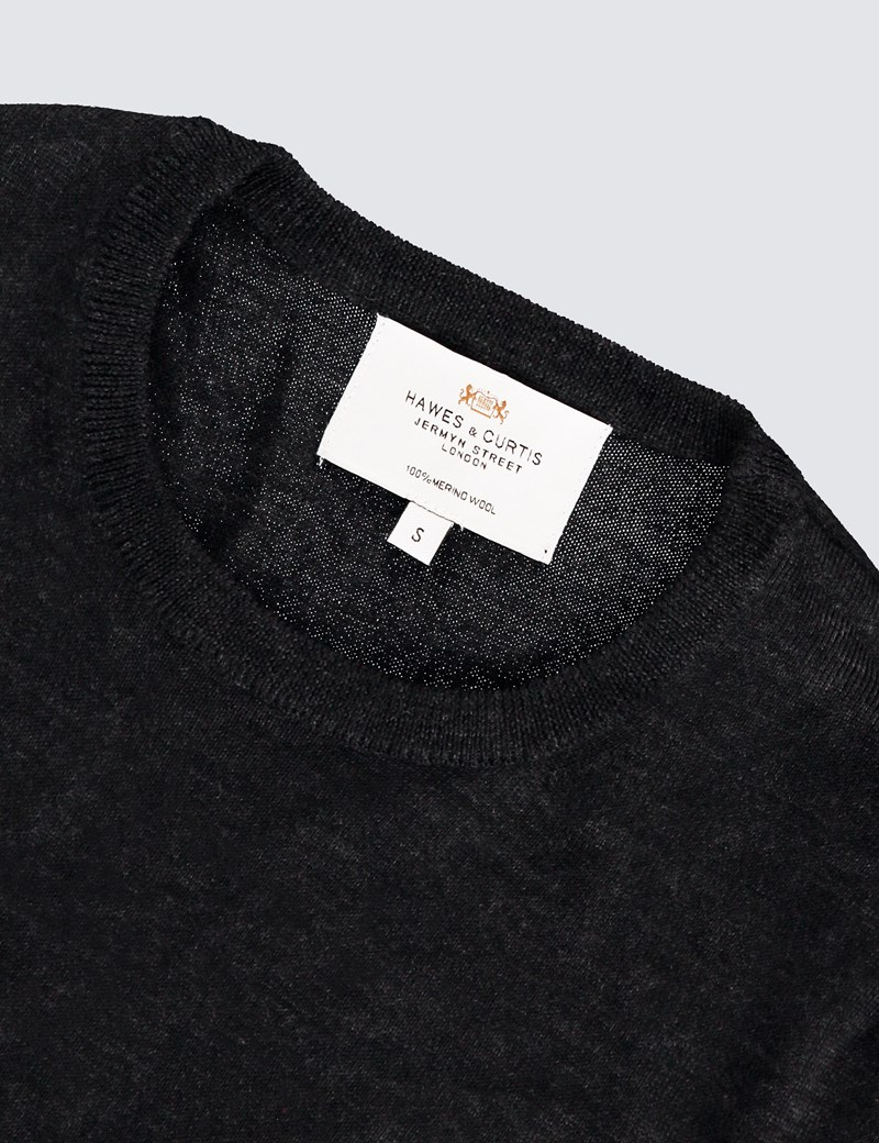 Men's Charcoal Crew Neck Merino Wool Sweater - Slim Fit