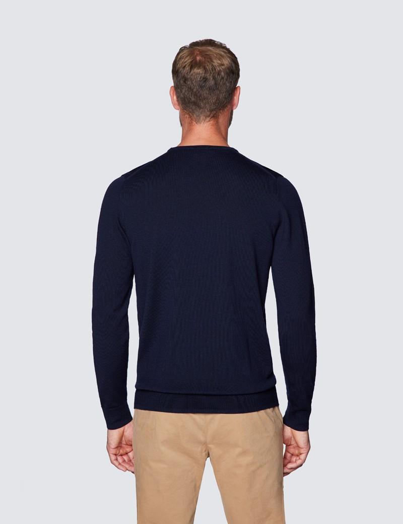 Merino Pullover – Slim Fit – Rundhals – navy