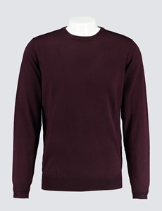 Men's Blackberry Crew Neck Merino Wool Jumper - Slim Fit