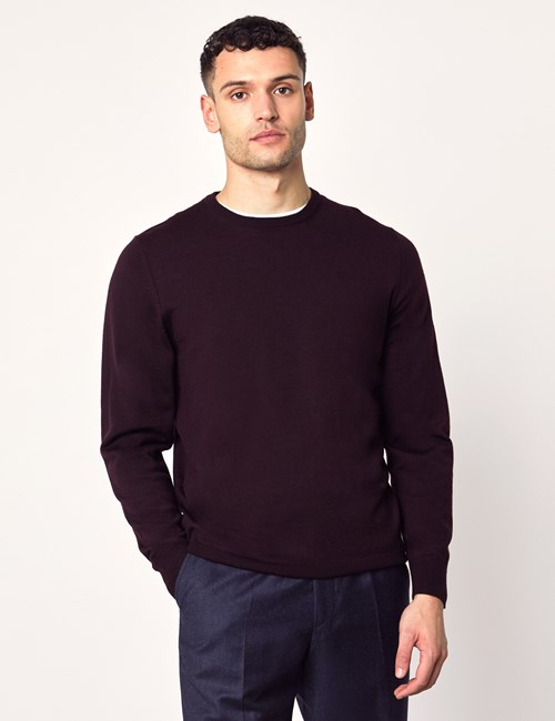 Men's Blackberry Crew Neck Merino Wool Jumper - Slim Fit