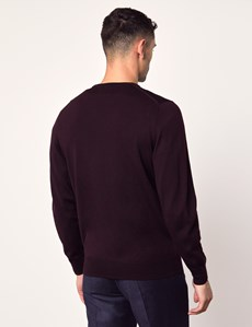 Men's Blackberry Crew Neck Merino Wool Sweater - Slim Fit