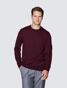 Men's Claret Crew Neck Merino Wool Jumper - Slim Fit