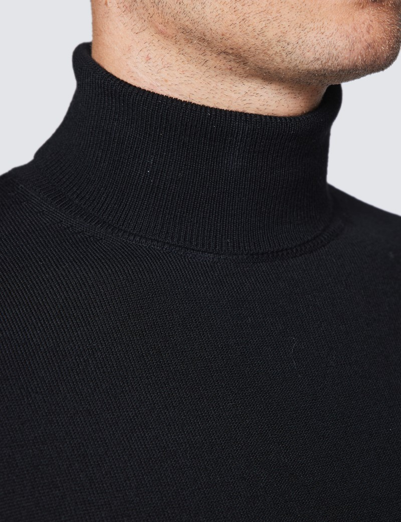 Rollkragen Pullover – Slim Fit  – Merinowolle – schwarz