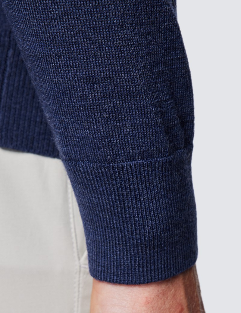 Rollkragen Pullover – Slim Fit  – Merinowolle – Dunkelblau