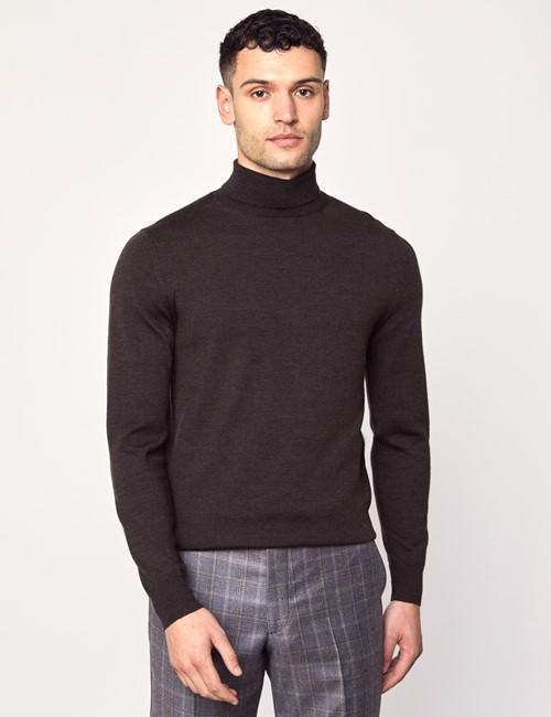 Men's Brown Roll Neck Merino Wool Slim Fit sweater