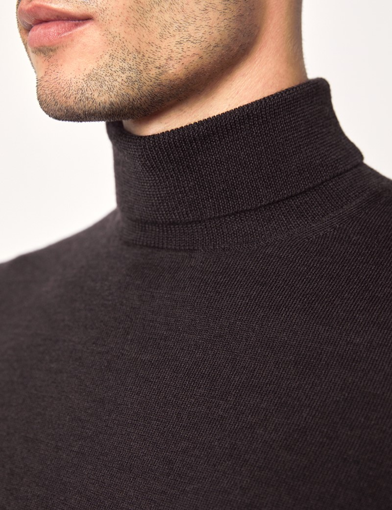 Men's Brown Roll Neck Merino Wool Slim Fit sweater
