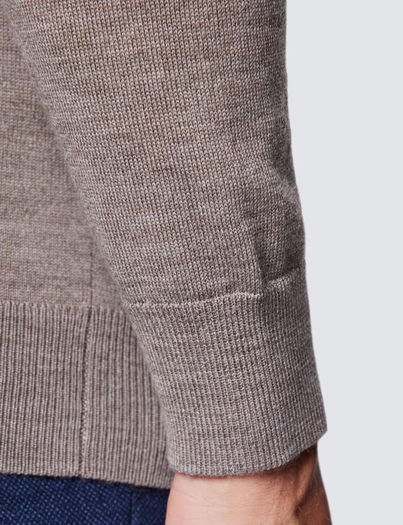 Rollkragen Pullover – Slim Fit  – Merinowolle – Beige