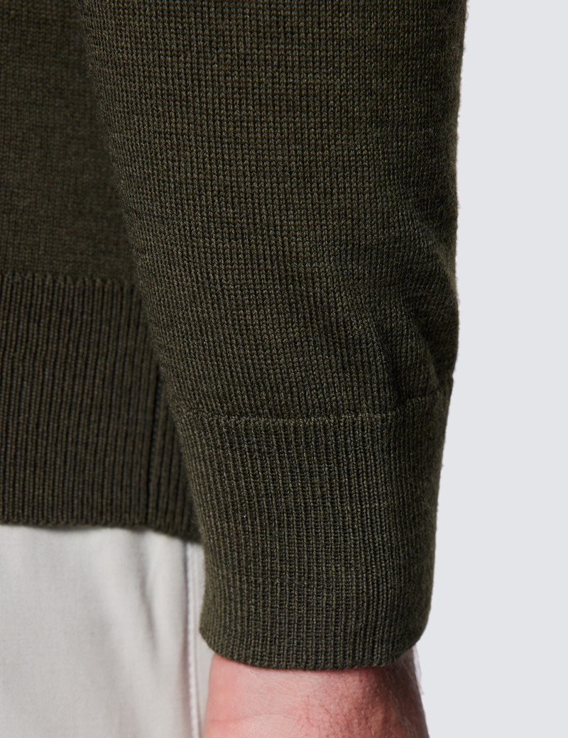 Rollkragen Pullover – Slim Fit  – Merinowolle – Olivgrün