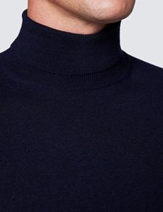 Men's Navy Roll Neck Merino Wool Slim Fit Sweater