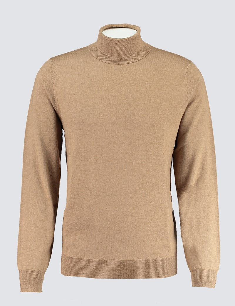 Men's Camel Roll Neck Merino Wool Slim Fit Jumper