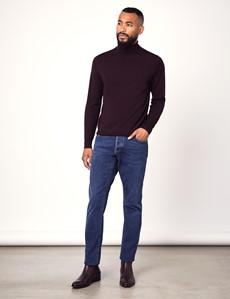 Men's Blackberry Roll Neck Merino Wool Slim Fit Sweater