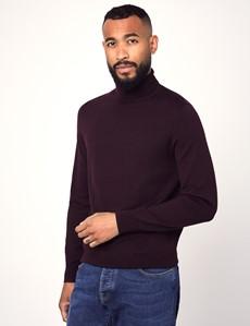 Men's Blackberry Roll Neck Merino Wool Slim Fit Jumper