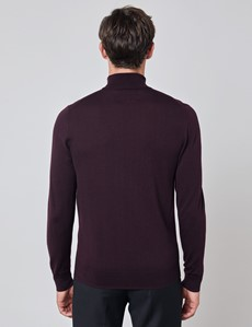 Men's Blackberry Roll Neck Merino Wool Slim Fit Jumper