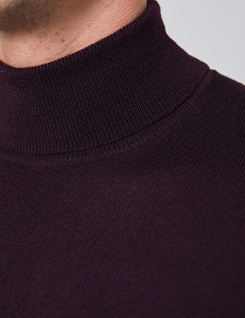 Rollkragen Pullover – Slim Fit  – Merinowolle – Brombeere