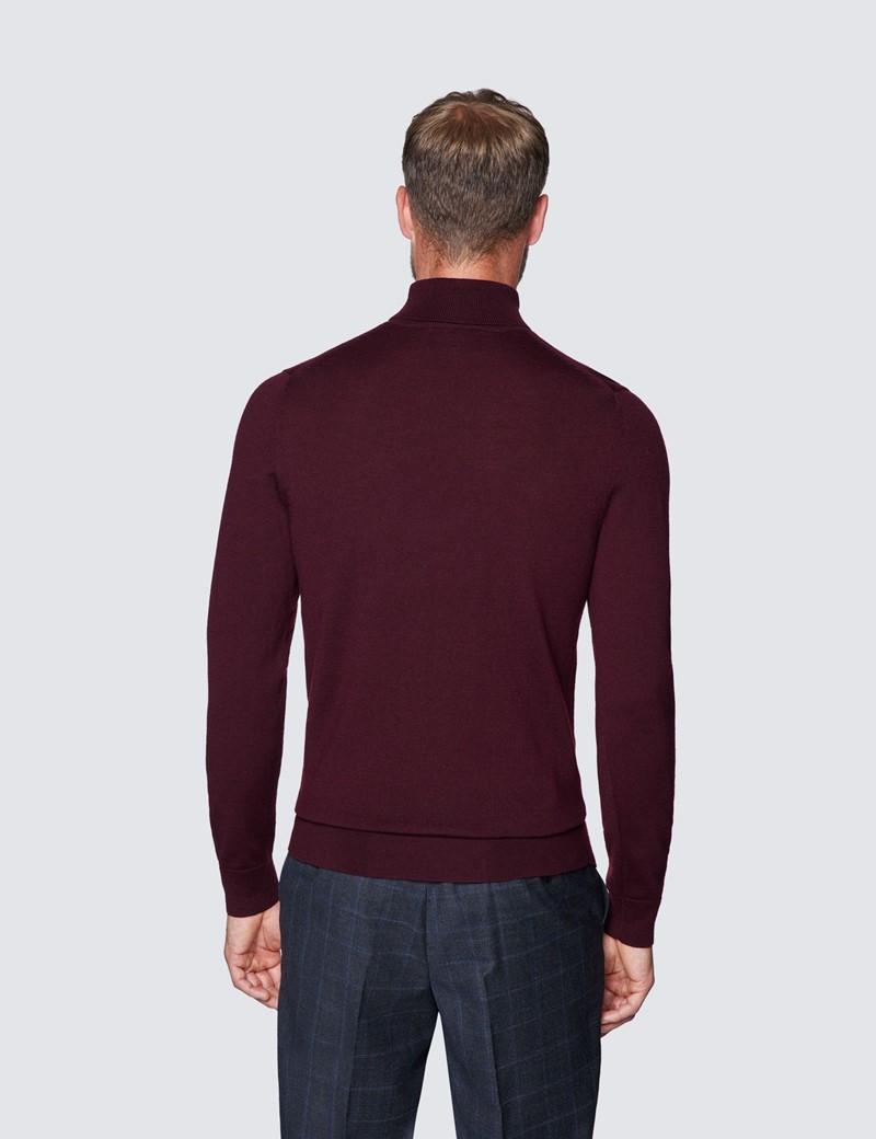 Men's Claret Roll Neck Merino Wool Slim Fit Jumper