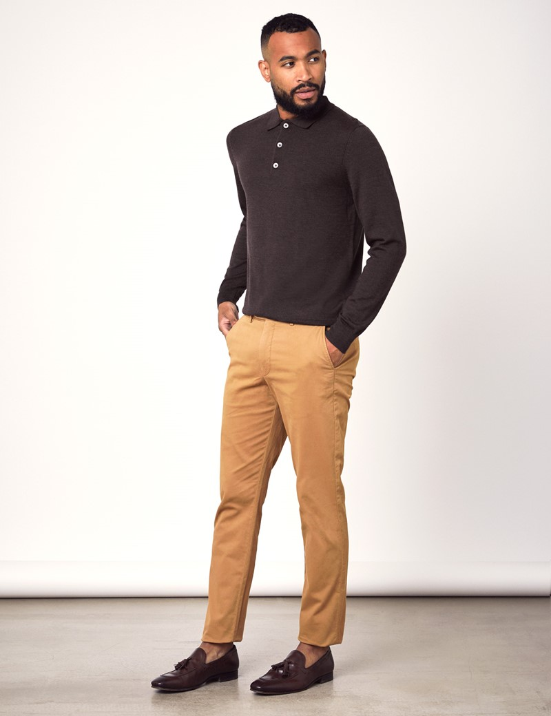 Men's Brown Polo Neck Merino Wool Jumper - Slim Fit