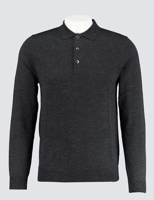 Merino Pullover – Slim Fit – Poloshirt Kragen – Anthrazit