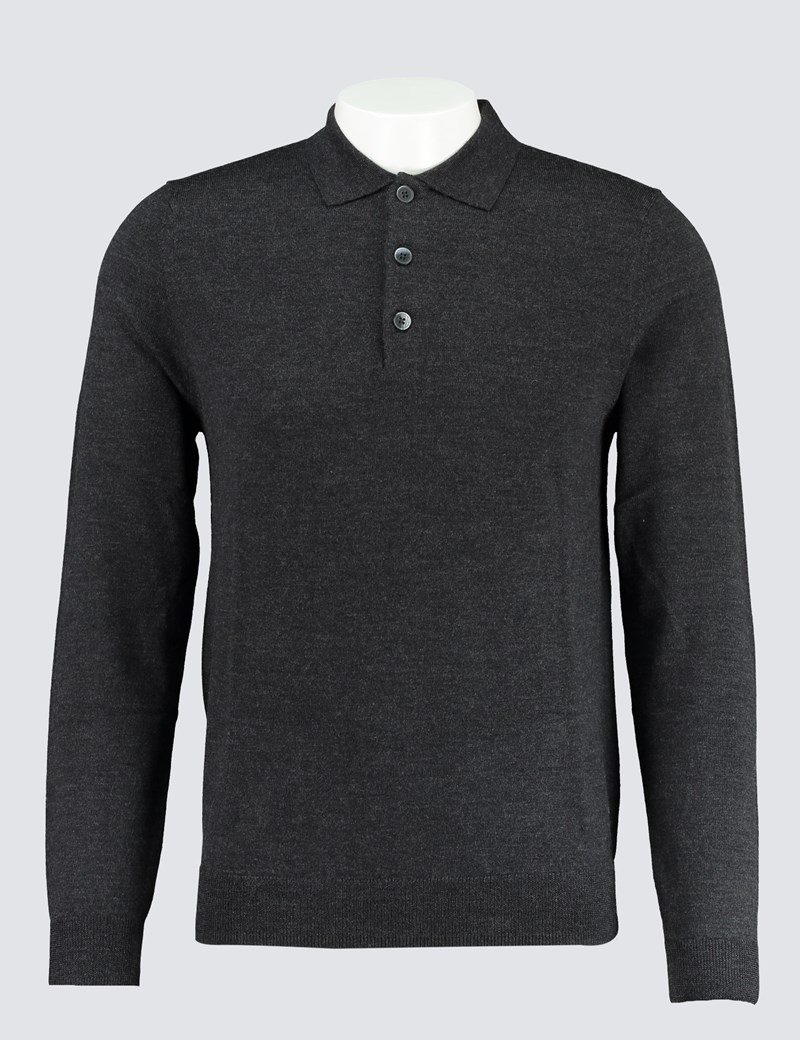 Men's Charcoal Polo Neck Merino Wool Sweater - Slim Fit