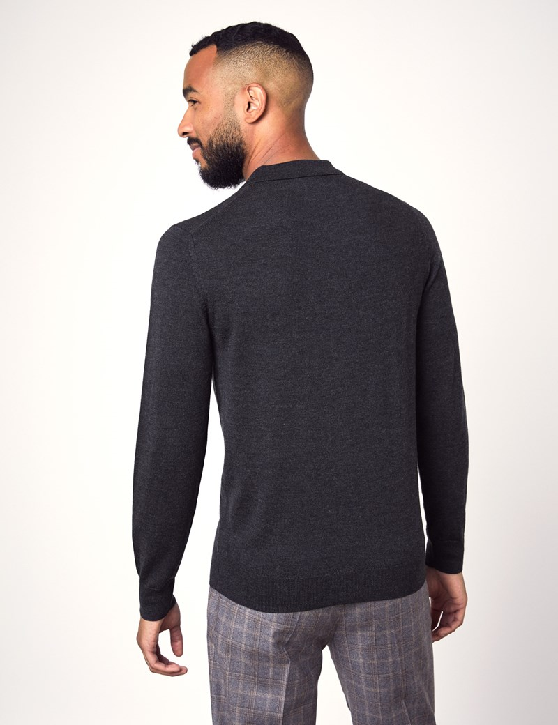 Men's Charcoal Polo Neck Merino Wool Jumper - Slim Fit